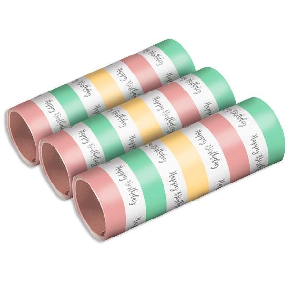Pastell Luftschlangen, 3 Rollen, Happy Birthday, Pastellfarben