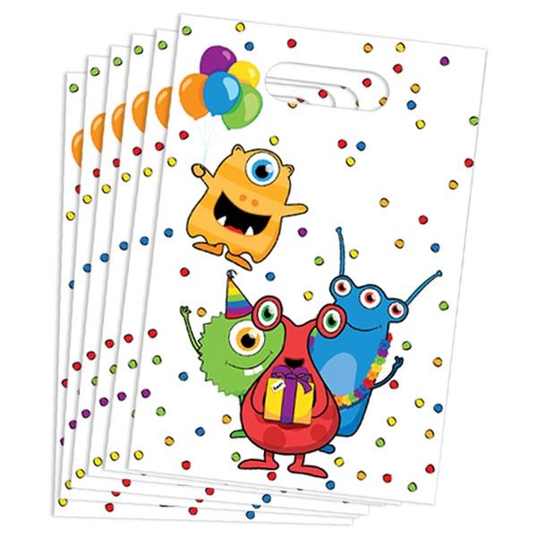 Monster Partytüten, 6 Stück, witzige Geschenktüten für Mitgebsel, Folie
