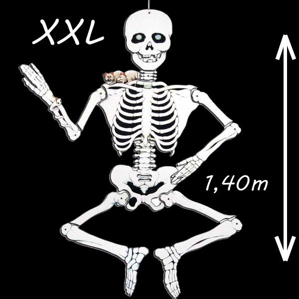 Skelett XXL, 1,4m, Deko für Halloween und Gruselpartys, 1 Stück, Pappe