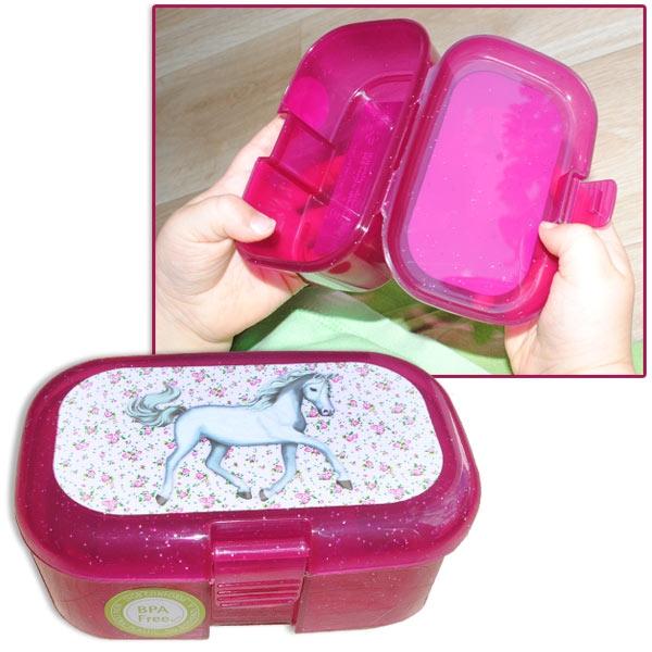 Weisses Pferd Mini-Lunchbox, 10,5cm x 7cm