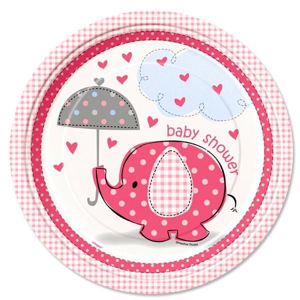 Baby Shower Teller Elefant 8 Stk., Einwegteller aus Pappe, 23 cm