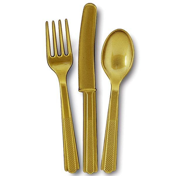 Kinder-Plastikbesteck, goldfarbig, 18-teilig, 6 Gabeln, 6 Messer, 6 Löffel