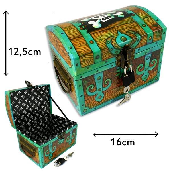 Piraten-Schatzkiste, 16cm, mit Metallschloss und Griffen, 2 Schlüssel, Kärtchen, stabile Ausführung