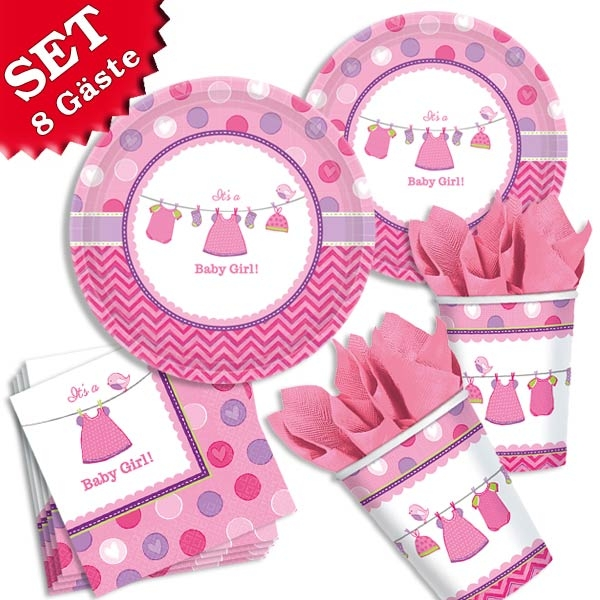 It´s a Baby Girl - Basic Set, 32-teilig für bis zu 8 Gäste, Mottoset Baby Mädchen