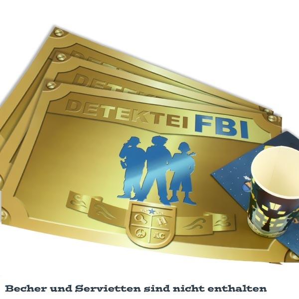 """Detektiv Platzdeckchen im 6er Pack mit Aufdruck """"Detektei FBI"""", Papier"""