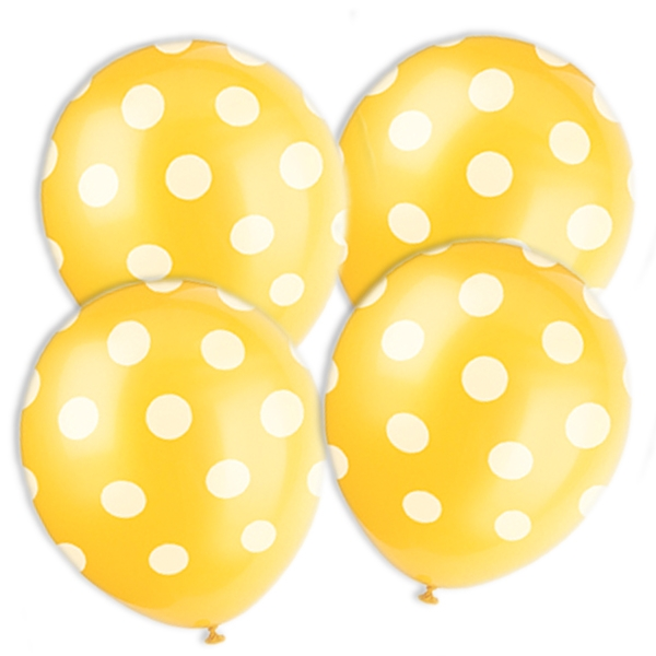 Partyballons im Punkte-Design, gelb-weiss, 6er Pack, 30,48cm, Latex