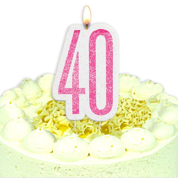 Geburtstagskerze Zahl 40, in schimmerndem Pink für Torten