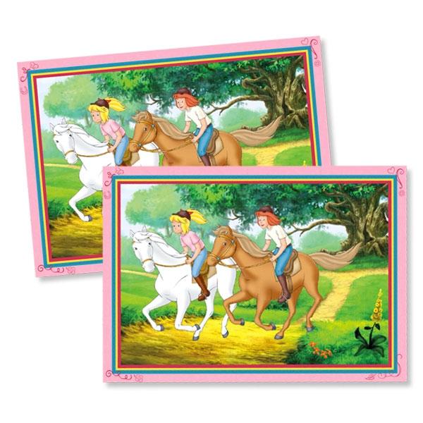Bibi und Tina Platzset mit ihren Pferden Amadeus & Sabrina, 6er Set