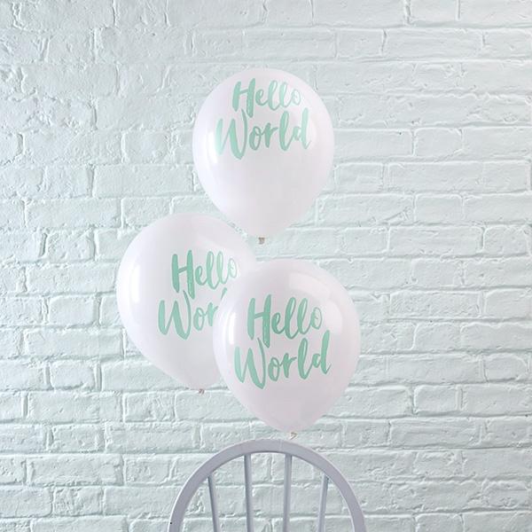 """Hello World"" Latexballons, 10 Stück,, weiße Ballons für Feier zur Geburt"