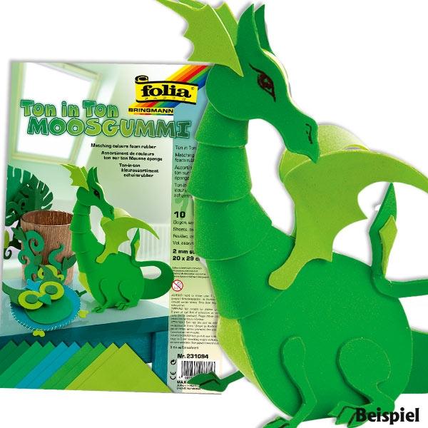 Moosgummi-Set in Grün zum Basteln für viele Ideen, 10 Blätter, tolle Farbe