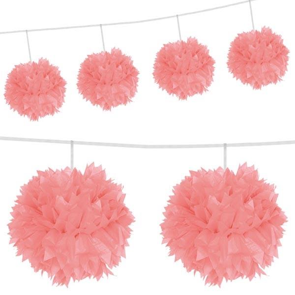 Pompom Girlande rosa mit prächtigen Puffbällen, 3 m, Papier