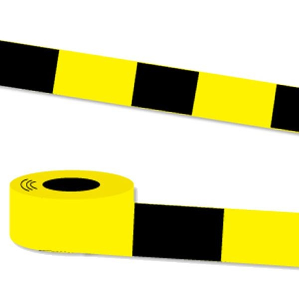 Absperrband gelb-schwarz 20m Folie, 8 cm breit, zur Markierung