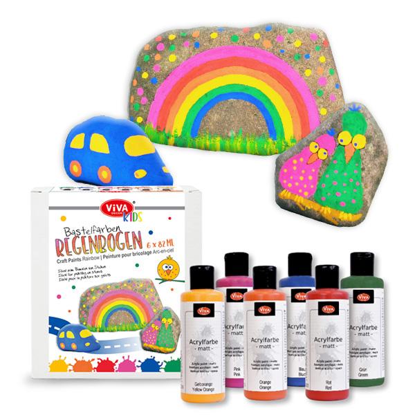 Bastelfarben Regenbogen, 6x 82ml