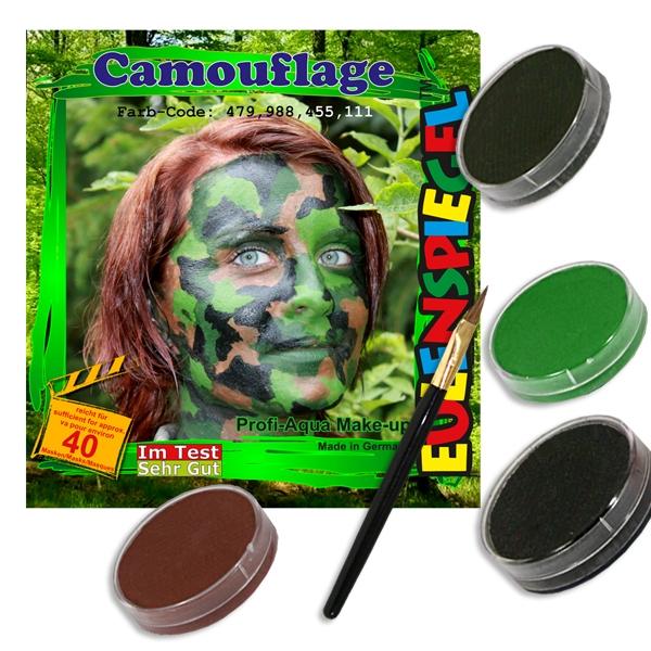 Camouflage Schminkset mit 4 Farben für cooles Tarnfarben-Gesicht
