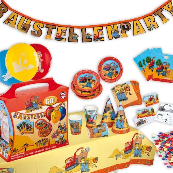 Baustelle Partykoffer, 8 Kids, 60tlg. Tischdeko & Raumdeko-Accessoires