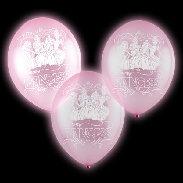 Disney Prinzessinnen LED Ballons, 5er Pck, 7,5cm