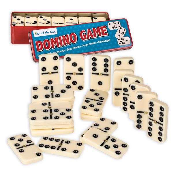 Dominospiel für bis zu 6 Spieler, 28 Kunststoffsteine in Metalldose