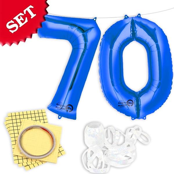 """XXL Folieballons Zahl """"70"""", blau für den 70. Geburtstag eines Mannes"""