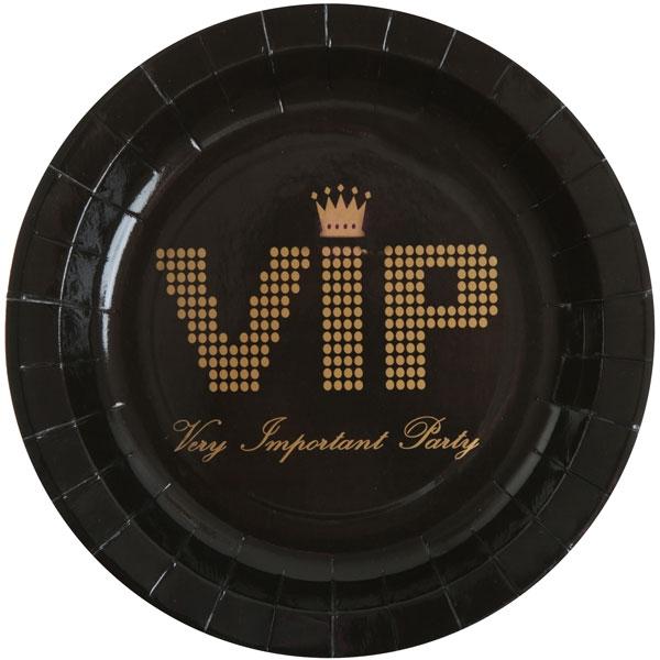 VIP Partyteller schwarz, beeindruckende V.I.P.-Partydeko, 10er, 22,5cm