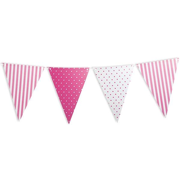 Rosa gepunktet & gestreifte Wimpelkette, Kindergeburtstag, Babyparty Mädchen, 3,6 m