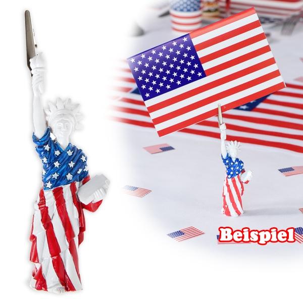 USA Kartenhalter als Freiheitsstatue in USA-Flagge gehüllt, 1 Stück