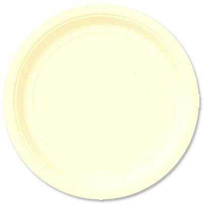 Pappteller einfarbig creme, rund, Einwegteller, ca.23cm, 8er-Pack