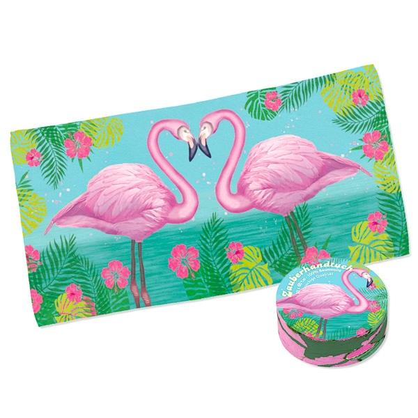 Zauberhandtuch Flamingo 30x60cm, magisches Handtuch, mit Zoo-Motiv