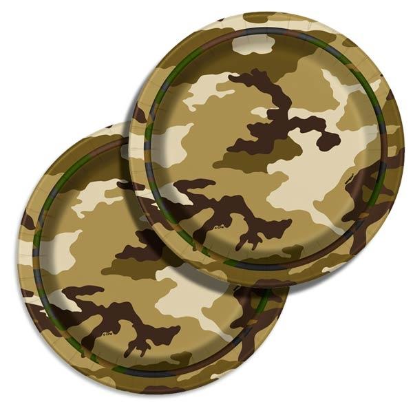 Pappteller Camouflage Tarnfarbenparty, 8 Stk, 17cm, Einwegteller