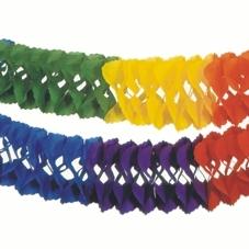 Papiergirlande Regenbogen 6m x 16cm, bunte 3D-Girlande als Deko