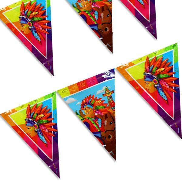 Indianer Wimpelkette für drinnen und draußen aus Folie, 10m, 1 Stück
