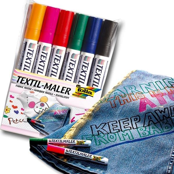 Textilmaler, 6 Stifte, zum Bemalen von T-Shirts, Hosen, Taschen uvm,  Textilien-Malstifte