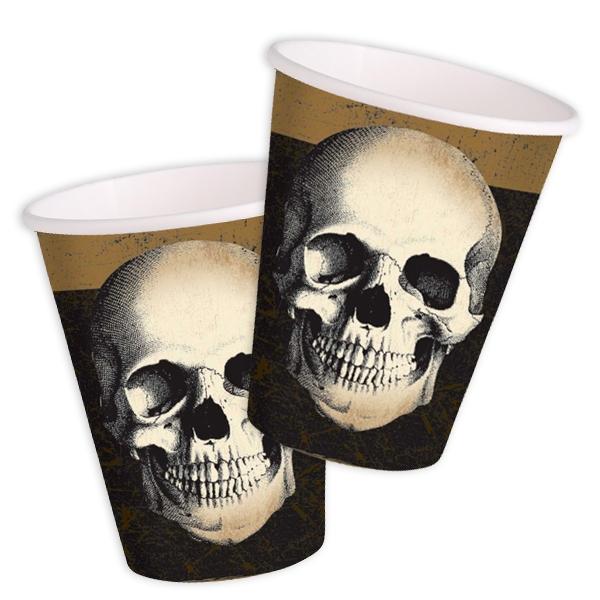 Totenschädel Becher für Piratenparty oder Gruselparty, 10 Stück, Pappe