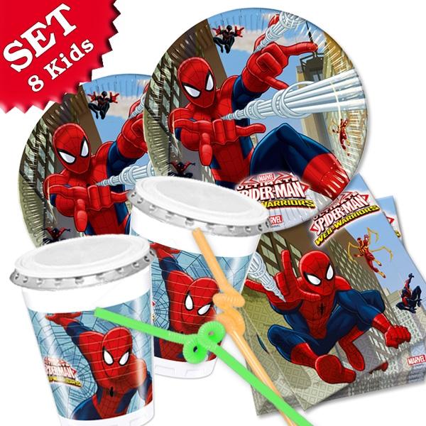 Komplettset für Spiderman-Kindergeburtstag, 56 Teile, für 8 Kids