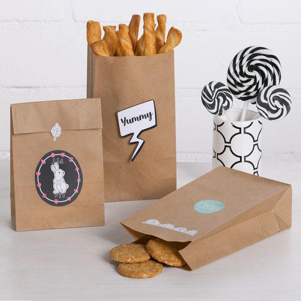 Geschenk- oder Popcorntüten in braun, 15er Pck, 21cm x 12cm x 6cm