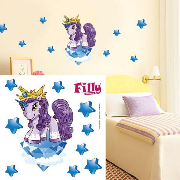 Wandtattoo Filly Unicorn 11-teilig, süße Einhorn-Wanddeko mit Sternen
