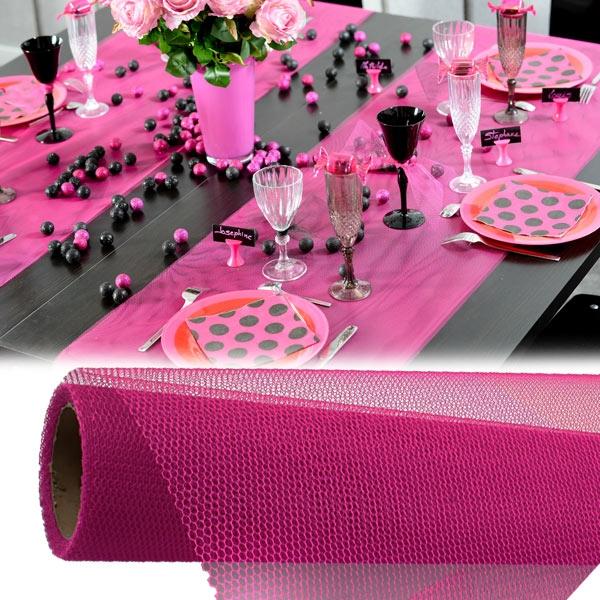 Tischläufer in Pink aus Vlies, 5m lang und 50cm breit, in Netzoptik, 1 Rolle