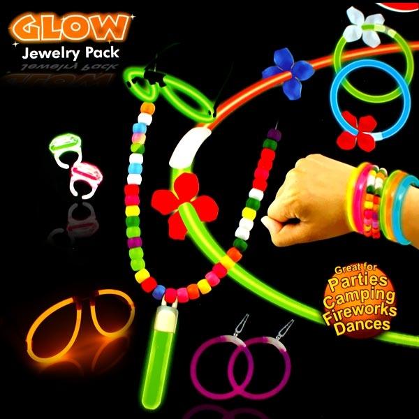 Neon Knicklicht Schmuckset, 90-tlg: Knicklicht-Brillen, Halsketten, etc.