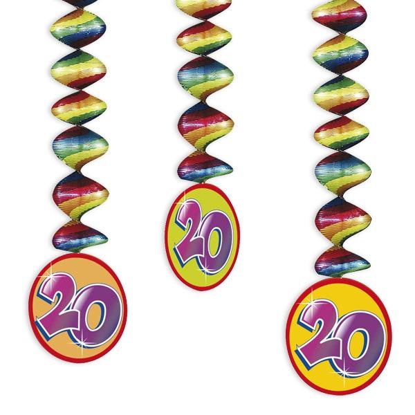 "Rotor-Spiralen, Zahl ""20"", Regenbogen-Farben, 3 Stück"