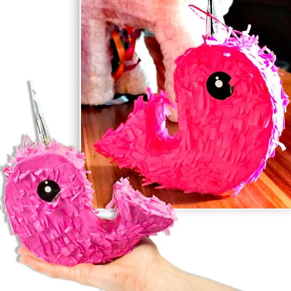 Piniata Narwal Mini, pink, 1 Stk, 20cm, mit Schlaufe zum Aufhängen