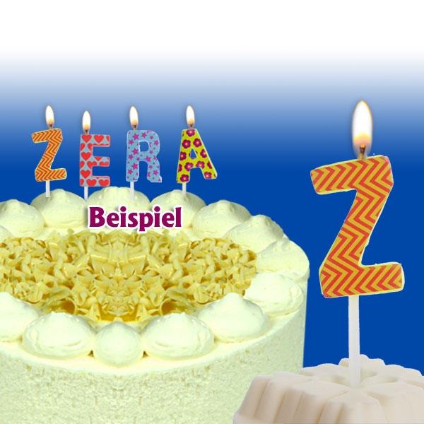 Mini Kerze Buchstabe Z, 2,5cm, zum Kombinieren für Namen auf der Torte