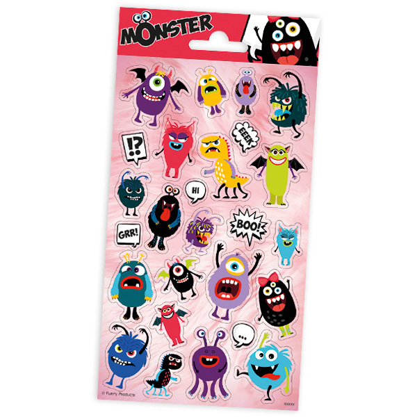 """Stickerbogen """"Monster"""" mit 25 Stickern"""