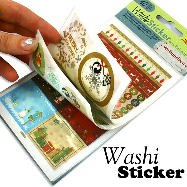 Washi-Stickerbögen WEIHNACHTEN, 10 Blatt ca.10x16cm, erneut ablösbar