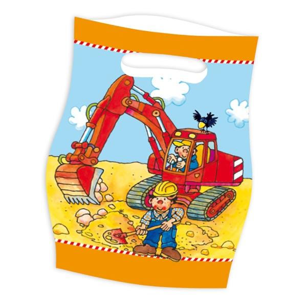 Baustelle Tütchen mit Bauarbeiter und Bagger-Motiv, 8 Folietütchen
