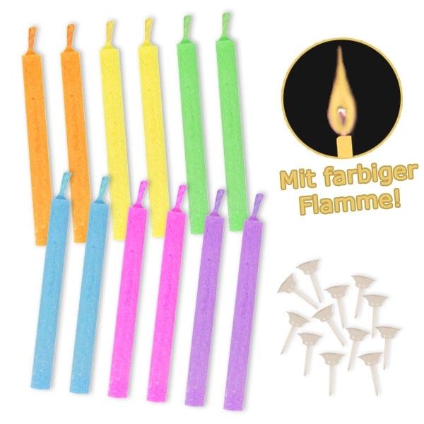 Neonfarbige Kerzen mit bunter Flamme, 12 Stück
