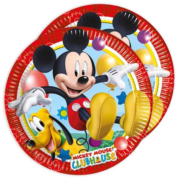 Mickey Mouse Kuchenteller, Pappe, für Disneyparty, 22,5cm, 8er Pack