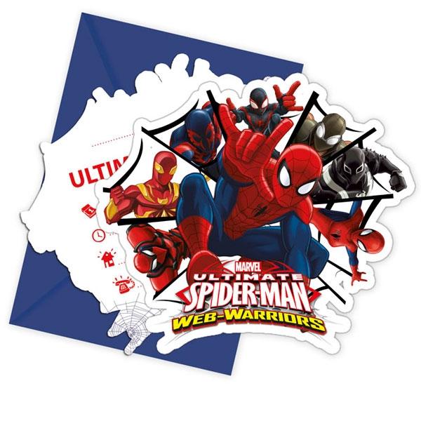 Spiderman Einladungskarten mit Umschlag, 6 Einladungen im Set