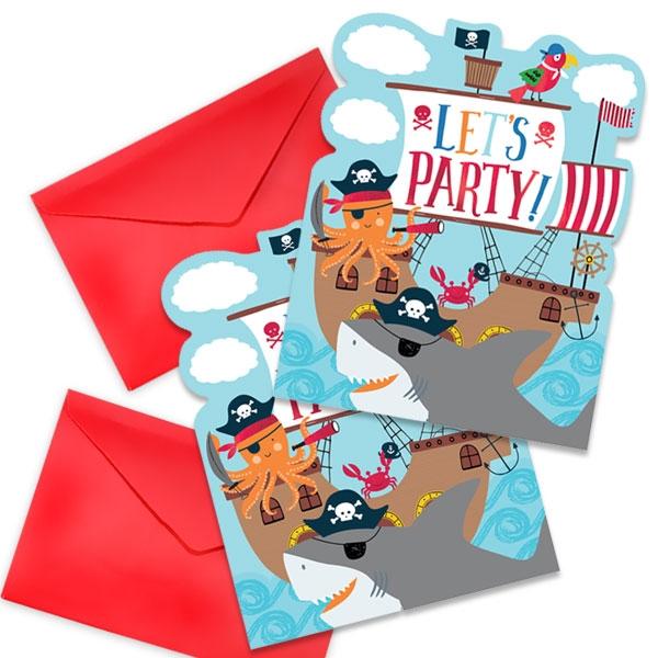 Ahoi Piraten, 8 Einladungen plus Umschläge, Sticker, 12,5cmx15cm