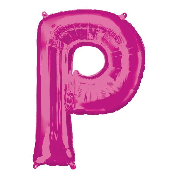 """Folienballon Buchstabe """"P"""" in Pink für individuelle Sprüche, 81 × 60 cm"""
