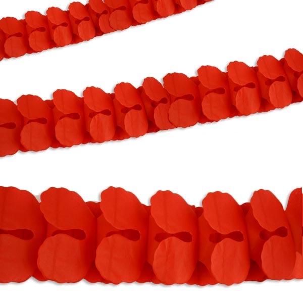 Partygirlande in Rot, 3,65m lang, Papiergirlande zur Partydekoration