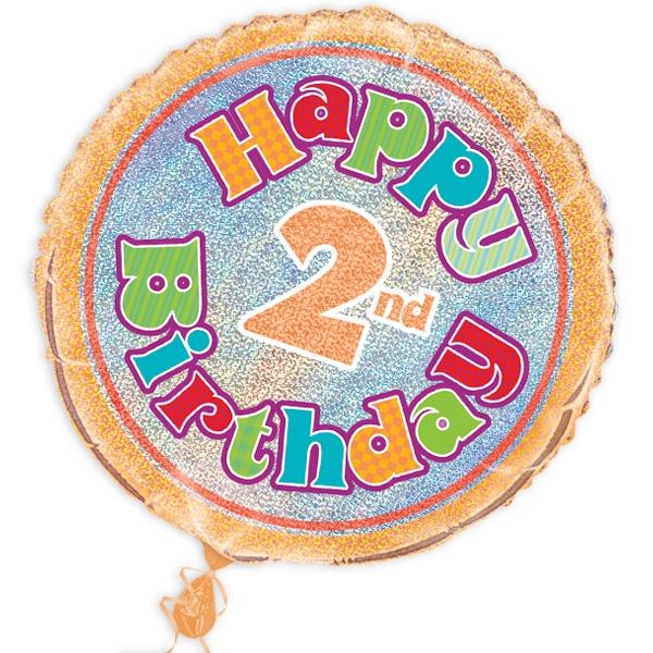 """Folienballon """"Happy 2nd Birthday"""", prismatisch, Ø 45cm"""